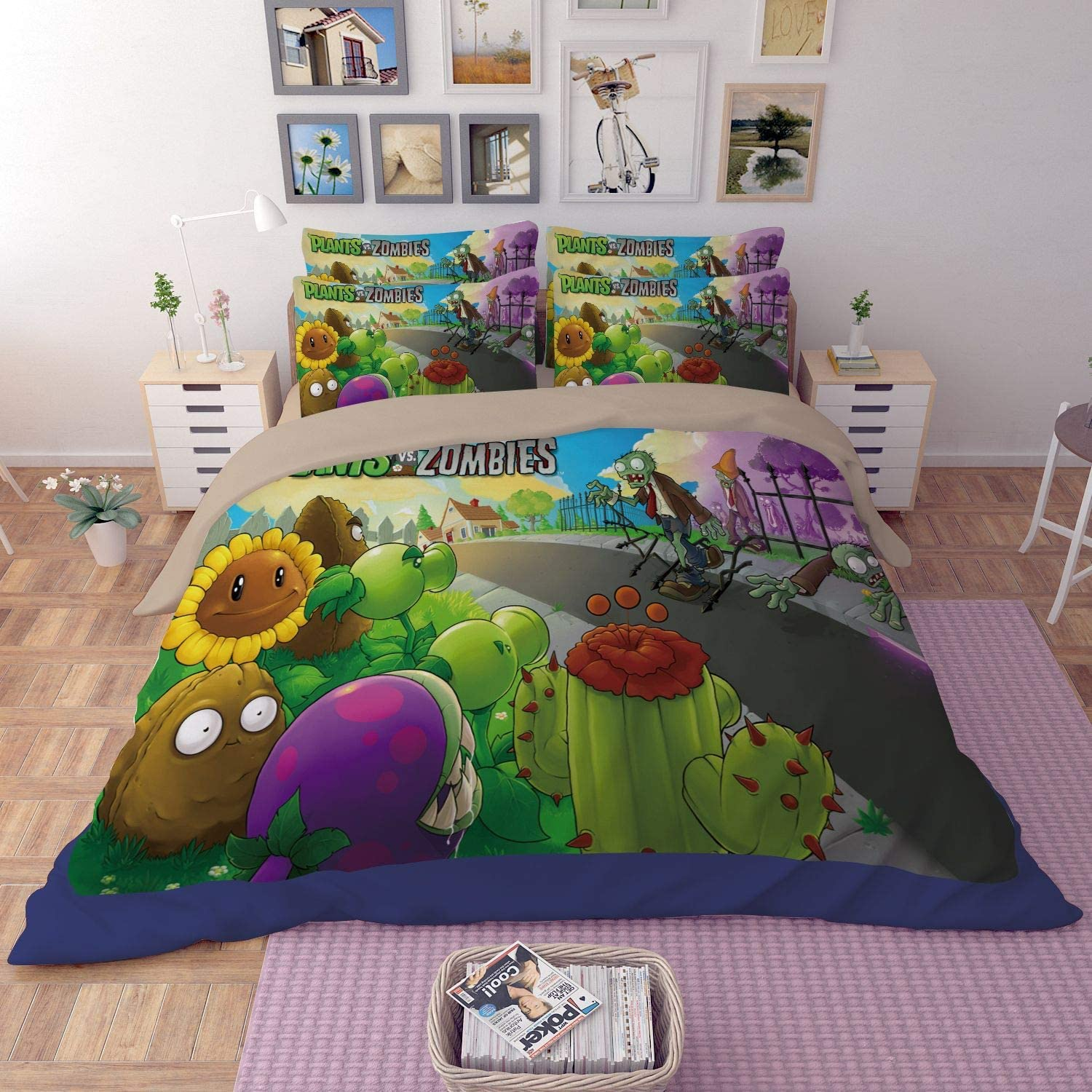 Paixide Plants VS. Zombies Bedding Sets 3D Children's Cartoon Duver Set Best Gifts for Game Funs with 3 Pieces 1 Duvet Cover 2 Pillowcases, Full