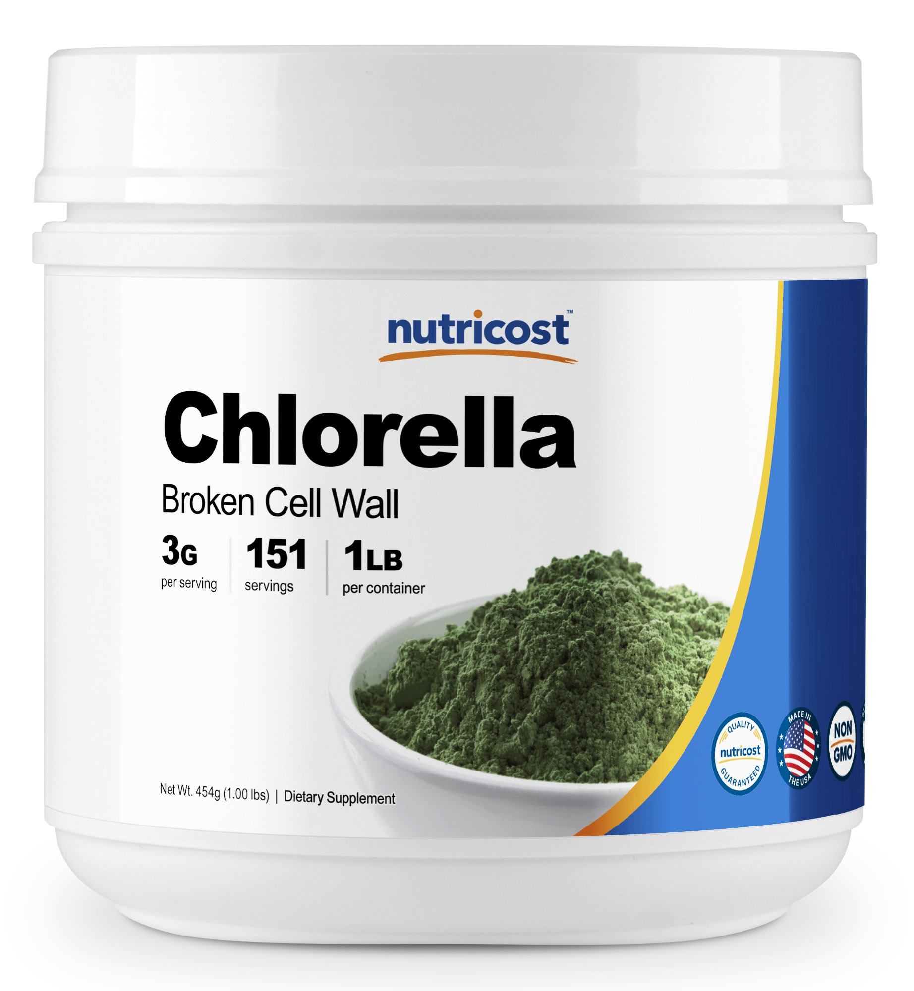 Nutricost Pure Chlorella Powder 16oz - 3000mg per Serving - Immune System Boost and Skin Care - High Quality