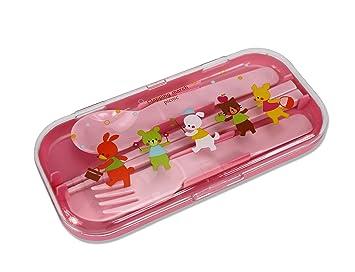 Diseño de animales de marchas con japonés palillos juego de cubiertos para niños, color rosa: Amazon.es: Hogar