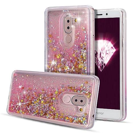 SpiritSun Funda Huawei Honor 6X Carcasa Honor 6X Transparente Bumper Glitter Sparkle Líquido Quicksand Silicona Case Cubierta Goma Flexible Bling ...