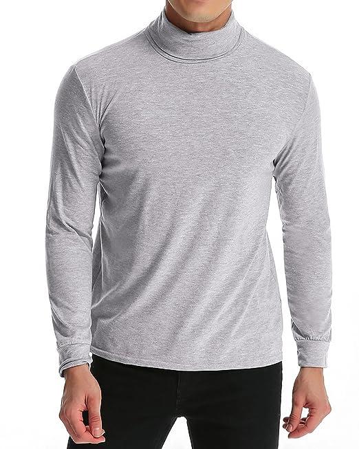 9fbc6e2533c8a MODCHOK Hombre Camiseta de Manga Larga T-Shirt Cuello Alto Top tee Algodš®n  Slim Fit   Amazon.es  Ropa y accesorios