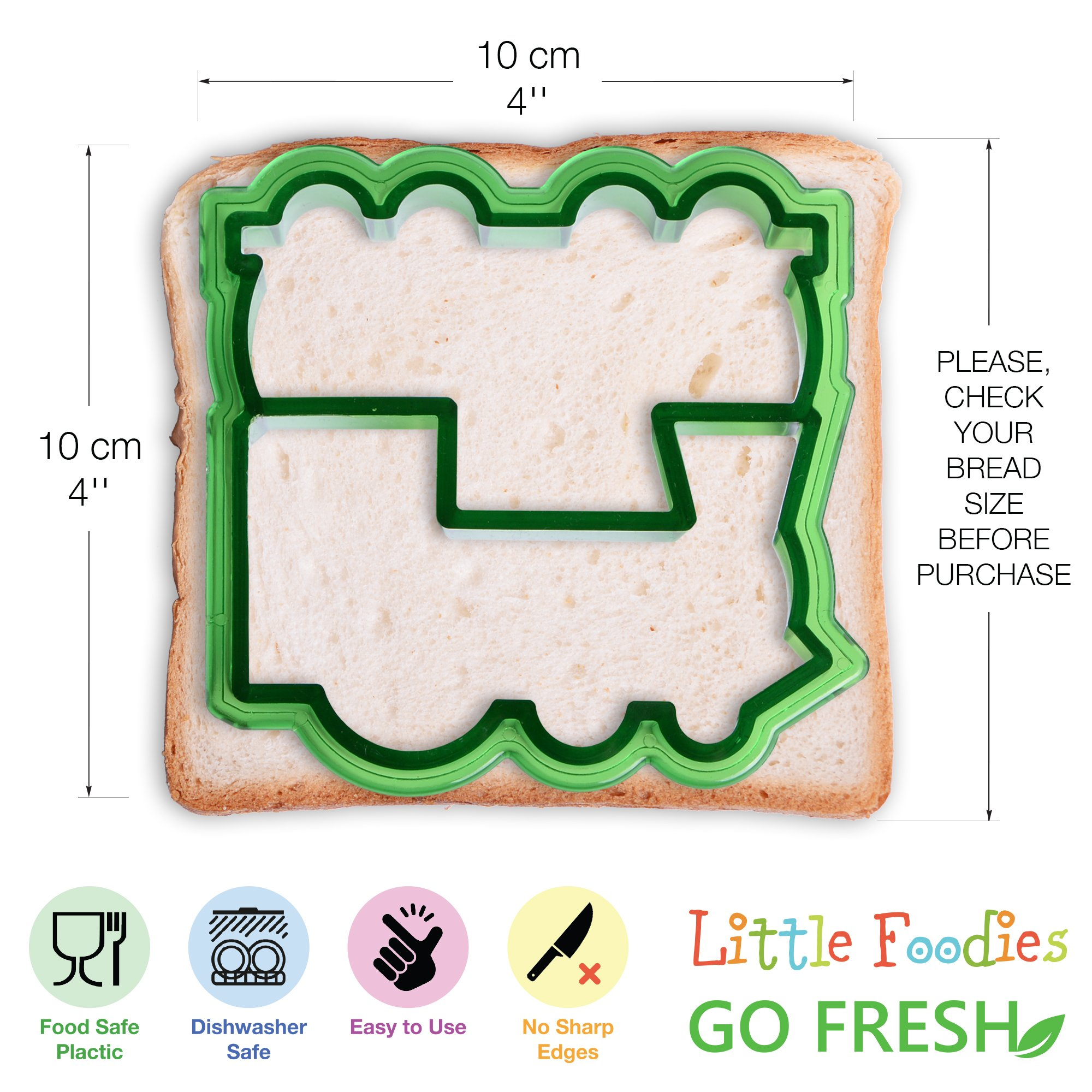 [20-Piece Set] Sandwich Cutters for Kids - 5 Sandwich Cutter Shapes, 5 Vegetable Cutters and FREE 10 Bento Decorations by GO FRESH (Image #3)