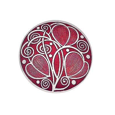Brooch - Rennie Mackintosh Leaves & Coils Design - Purple & Silver xHk5iofdz5