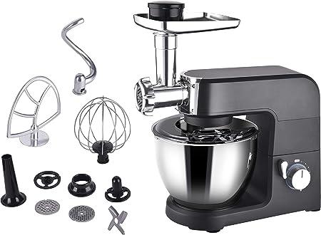 Aifeel Küchenmaschine - 1500W 7 in 1 Multifunktions Küchenmischer mit 5,5L Schüssel, Durchlaufschnitzler, Wurstfüllung und Pasta Zubehör - 8 Geschwindigkeiten und LED-Anzeige - Schwarz