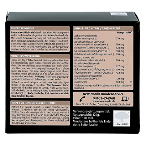 Biodrain Tablets by NEW NORDIC Deutschland GmbH: Amazon.es: Salud y cuidado personal