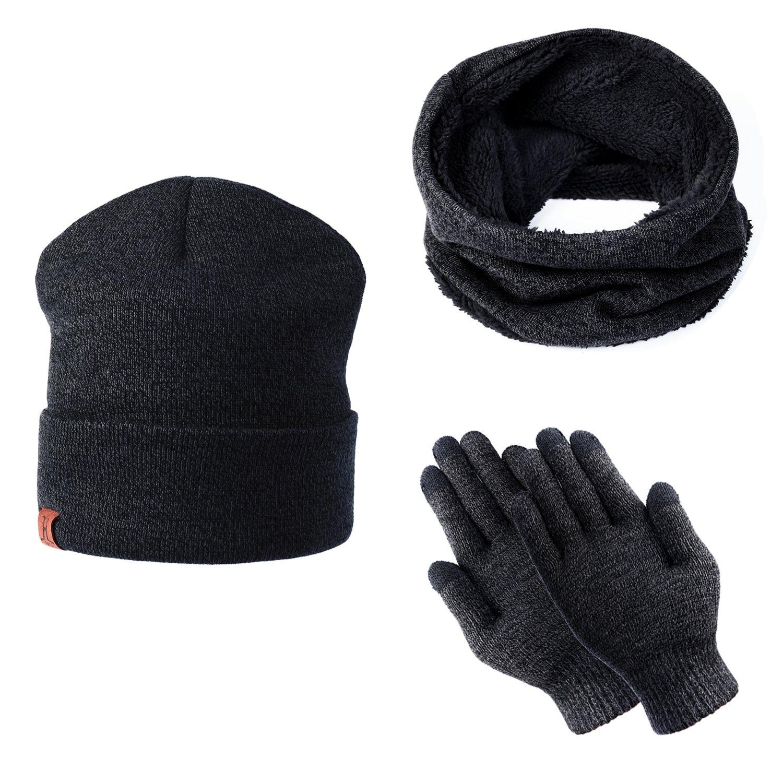 doublure molleton doux Bonnet tricot/é chaud cache-cou extensible gants tactiles /à 3 doigts pour Homme Femme TAGVO Tricot/és Ensemble dhiver Bonnet /écharpe gants d/écran tactile 3 en 1