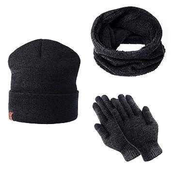 jolie et colorée remise pour vente disponible TAGVO Tricotés Ensemble d'hiver Bonnet écharpe gants d'écran tactile 3 en  1, doublure molleton doux Bonnet tricoté chaud cache-cou extensible gants  ...