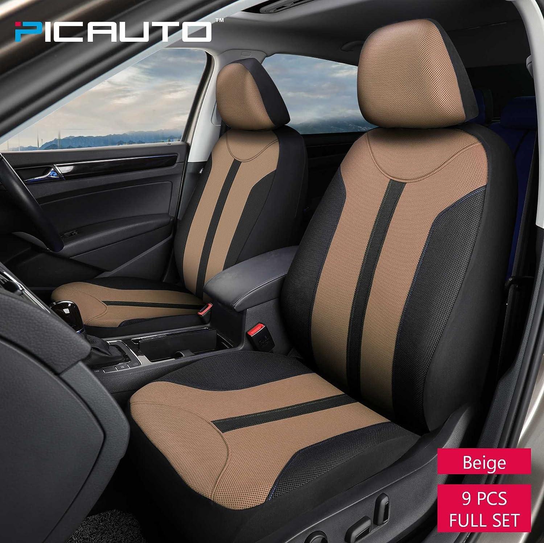 PIC AUTO Universal Fit Full Set Mesh Fabric Car Seat Cover Dark Blue