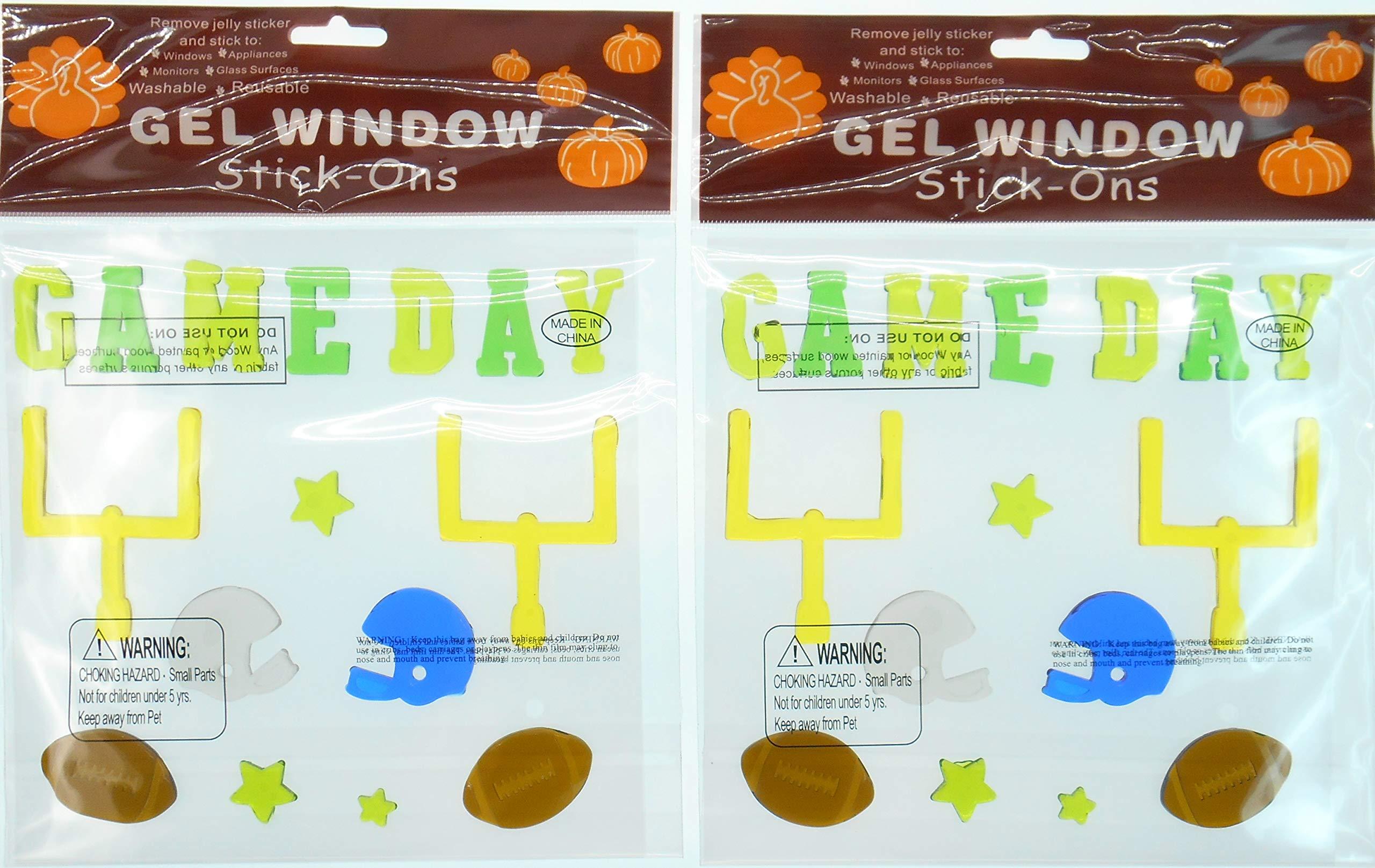 Football Gel Clings - Goal Posts, Footballs, Helmets, Game Day, Bundle of 2 Football Decorations