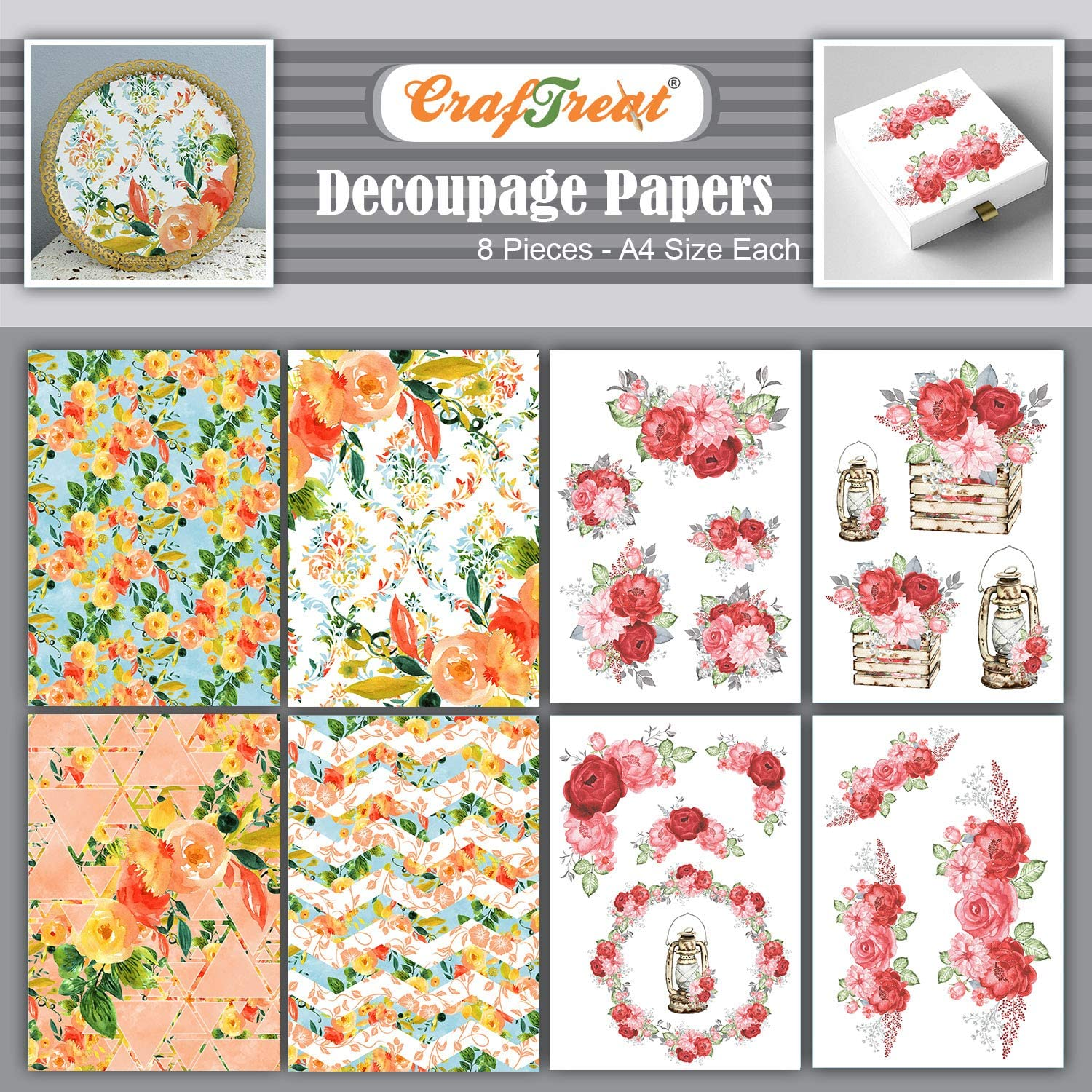 CrafTreat Decoupage Paper - Summer Flowers and Red Roses