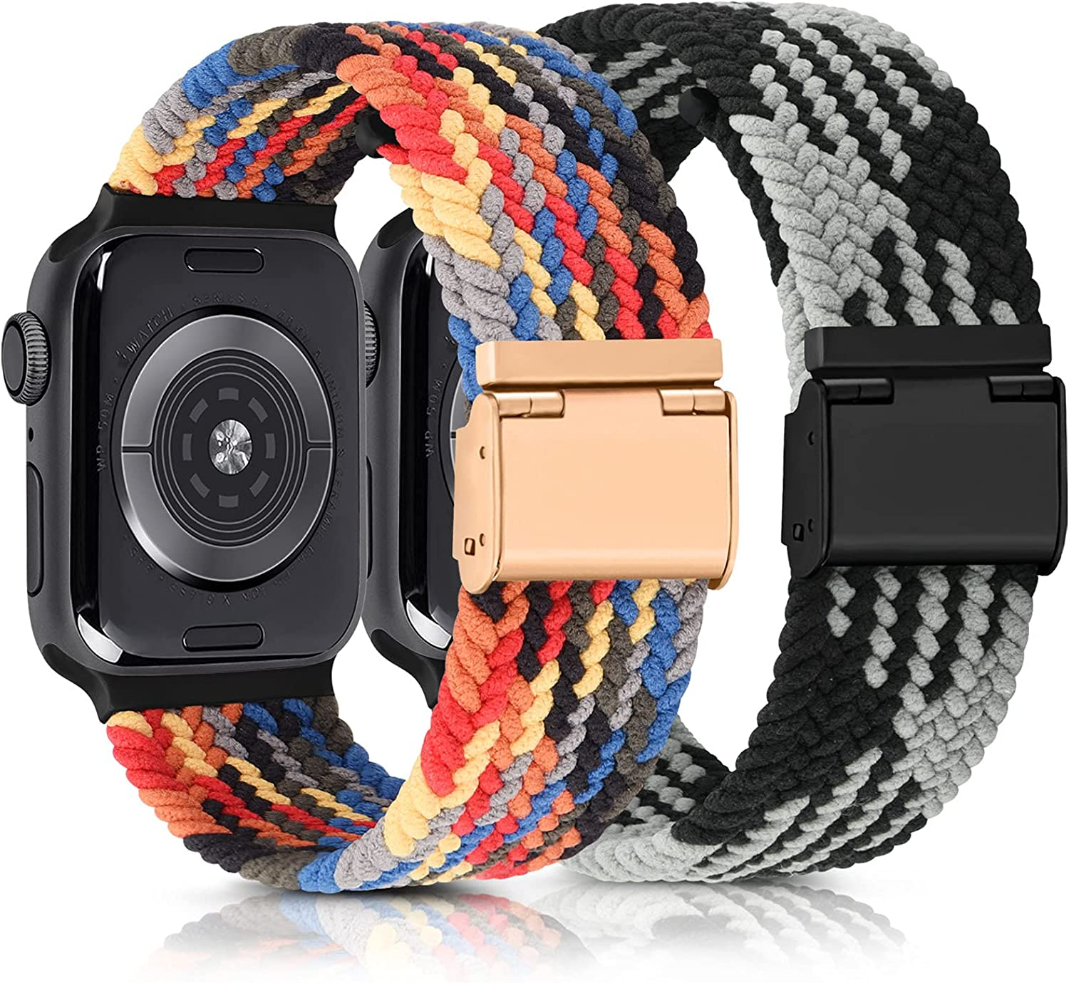 [2 PACK] Stretchy Bands Compatible with Apple Watch Bands 44mm 42mm 40mm 38mm for Women Men, Adjustable Braided Solo Loop Wristband for iWatch SE & Series 6 5 4 3 2 1