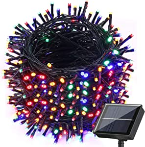 Upgraded Solar Christmas Lights, 121ft 350 LED 8 Modes Solar String Lights, Waterproof Solar Outdoor Christmas Lights for Garden, Patio, Holiday, Party, Balcony, Christmas Decorations (Multicolor)