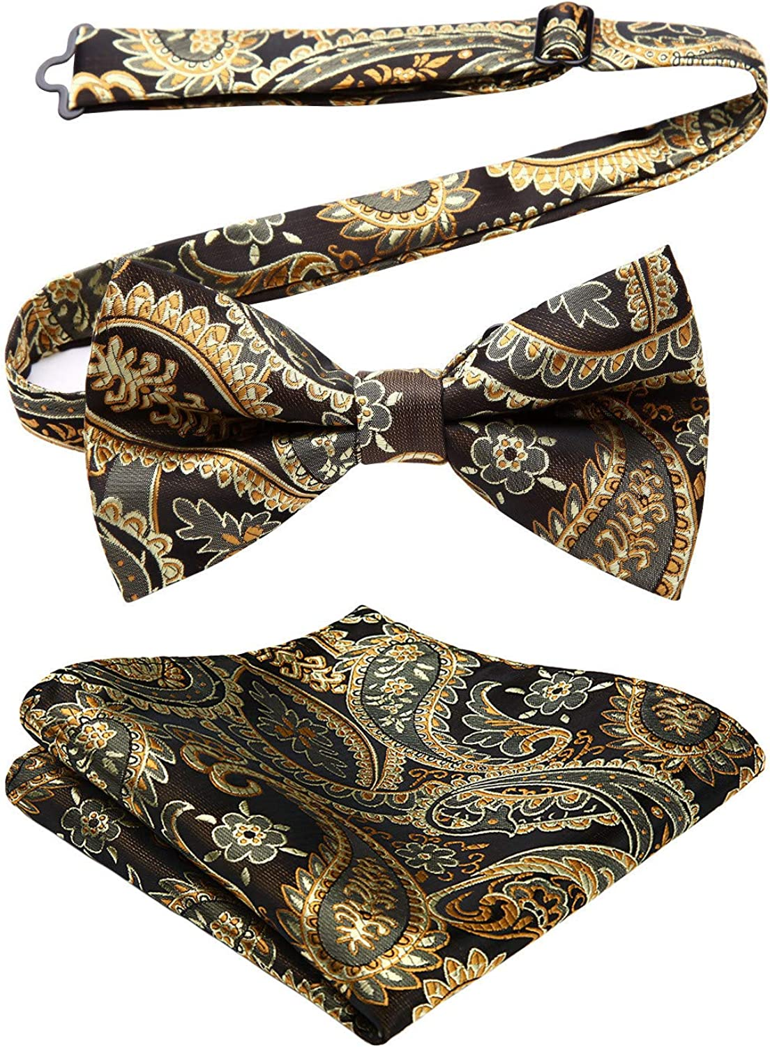 Vintage Yellow and Blue Floral Design Fabric Self-Tie or Pre-Tied Bow Tie with Optional Matching Pocket Square
