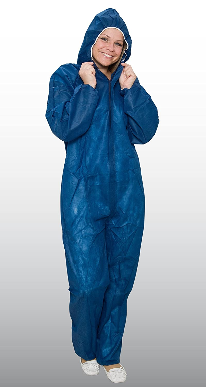 10 x Einweg-Overall Grö ß e XXL blau - extra stark - Schutzanzug aus PP - Maleroverall - Marke: BICAP
