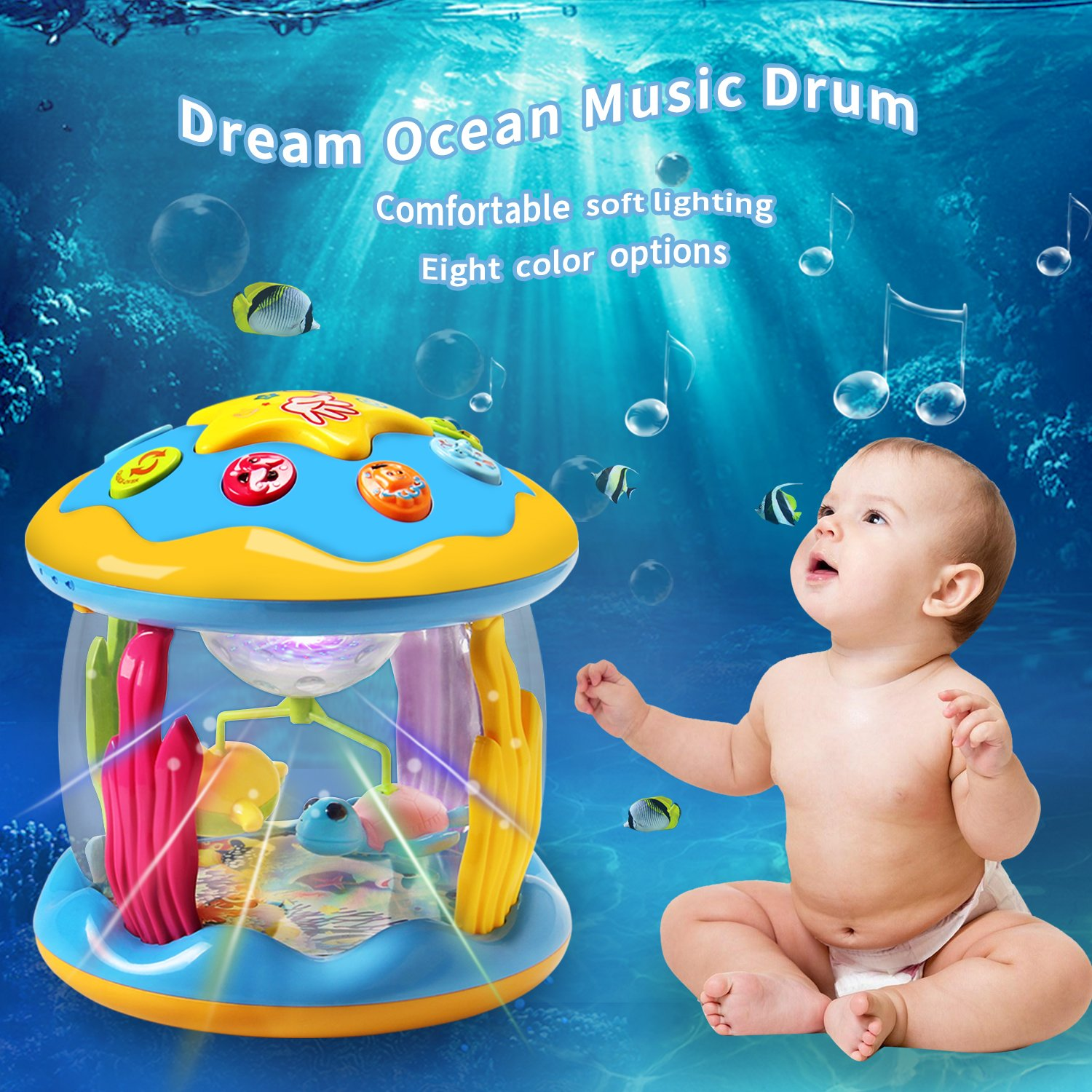 HOMOFY Baby Toys Ocean Park Rotating Projector,Various Pacify Music & Light,Super Fun,Early Educational Toys for 1 2 3 Year Girls and Boys Kids or Toddlers(BEST GIFTS) by HOMOFY (Image #1)