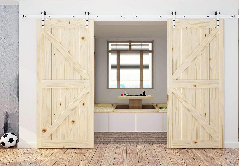 diyhd blanco y negro Mix Color Kit de puerta corrediza de madera de granero pista: Amazon.es: Bricolaje y herramientas