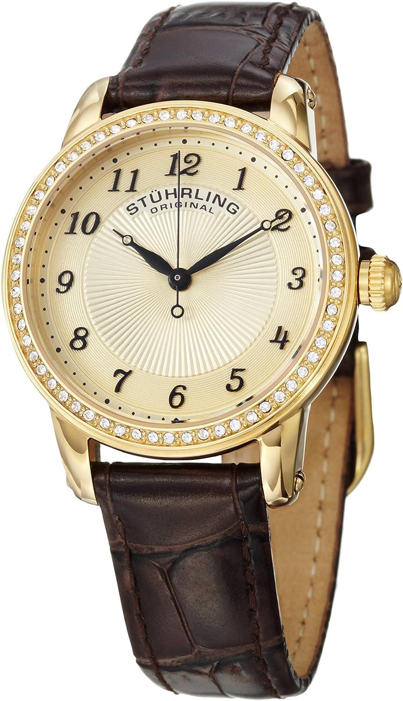Stuhrling Original Women s Symphony Swiss Quartz Swarovski Crystal Bezel Leather Watch 651 Series