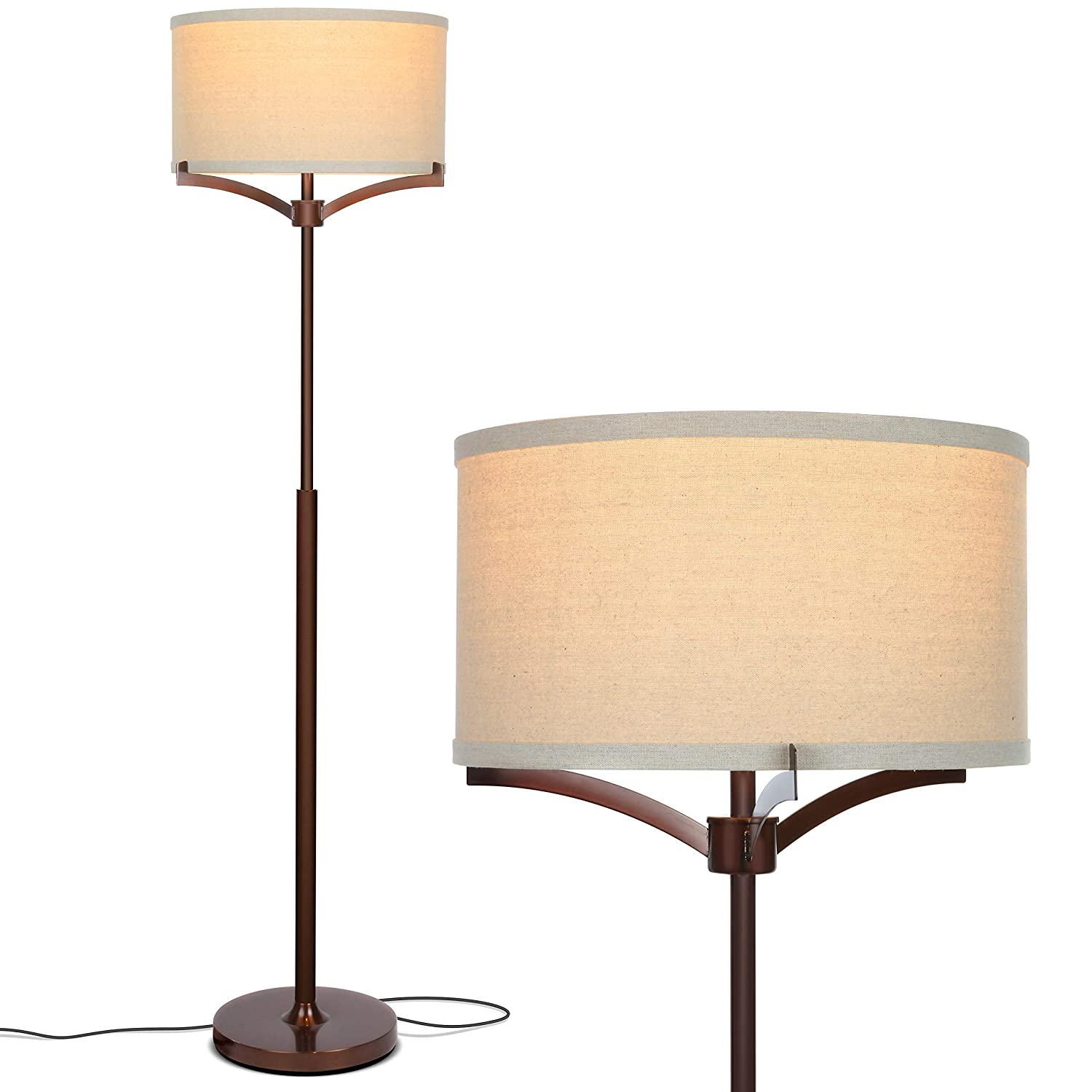 Brightech Elijah LED Floor Lamp Free Standing Pole Light for Living Room or Office Modern Tall Reading Light with Drum Shade – LED Bulb Included – Oil Brushed Bronze