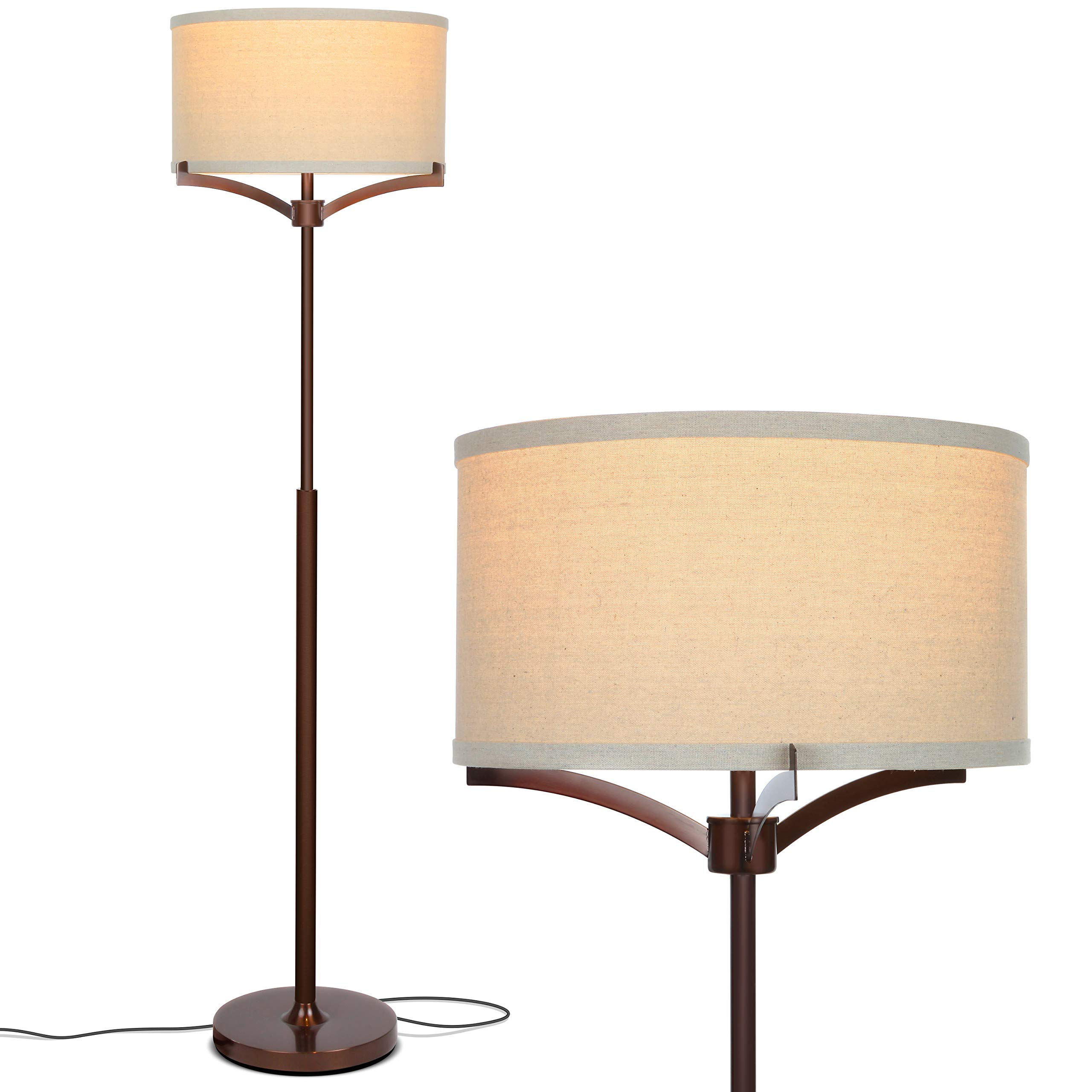 Brightech Elijah LED Floor Lamp - Free Standing Pole Light for Living Room or Office - Modern Tall Reading Light with Drum Shade - LED Bulb Included - Oil Brushed Bronze