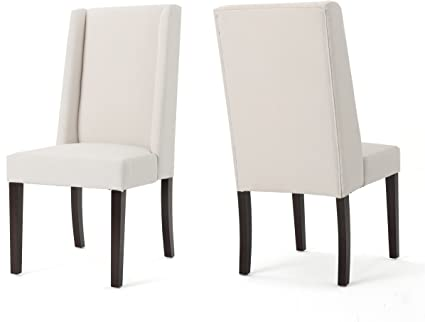 Amazon Com Christopher Knight Home Rory Fabric Dining Chairs 2 Pcs Set Ivory Brown Chairs