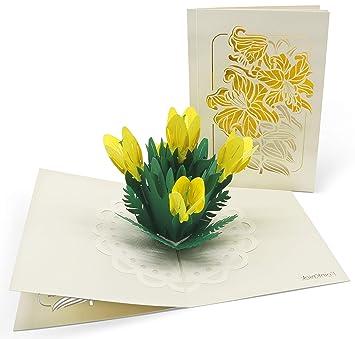 PaperCrush/® Pop-Up Karte Muttertag Sonnenblumen Muttertagskarte, Geburtstagskarte, Danke, Gute Besserung 3D Blumenkarte f/ür Mutter Oma - Handgemachte Popup Gl/ückwunschkarte mit Blumen