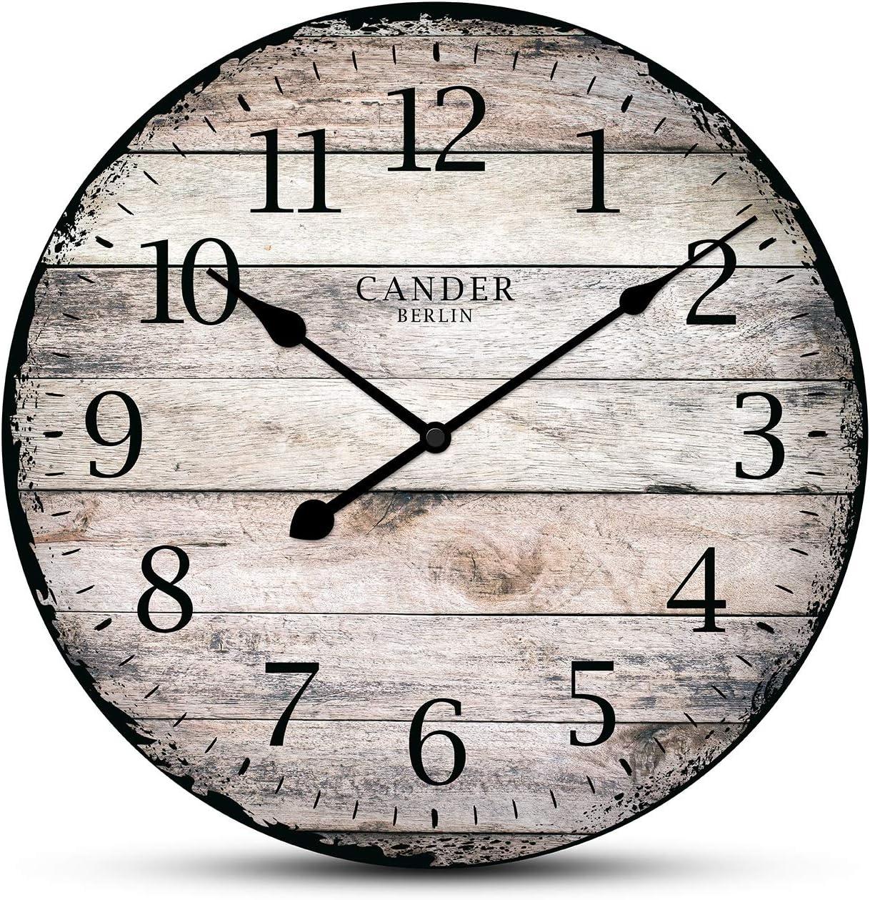 Cander Berlin MNU 7330Vintage Reloj de Pared de MDF con Silencioso de Reloj–Diámetro 30,5cm–no nerviges Tic TAC