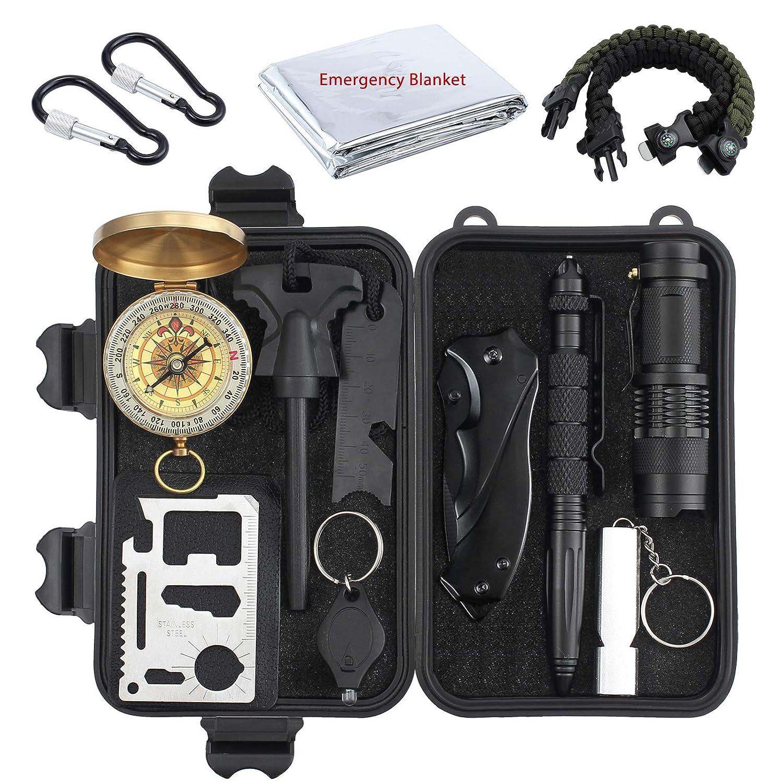 Kit de Supervivencia de Bolsa de Herramientas con Manta de Emergencia y Multifuncional Bolsa de Supervivencia de Emergencia para Viajar Caminar Acampar al Aire