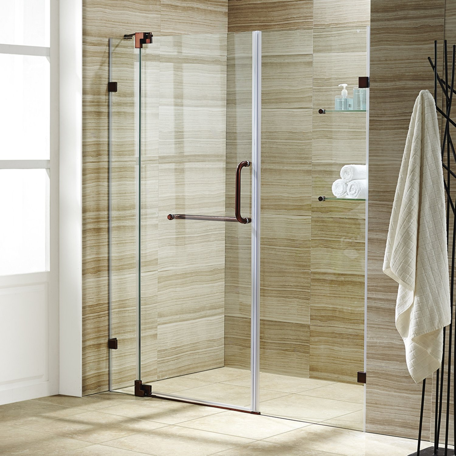 Vigo Pirouette 54 To 60 In Frameless Shower Door With 375 Clear Glass And Oil Rubbed Bronze Hardware Com