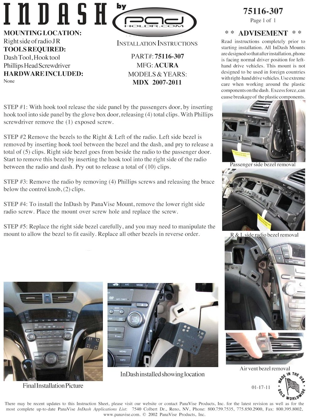 Padholdr Social Series Premium Tablet Dash Kit 2007-2010 Mazda CX-7 for Smaller Tablets