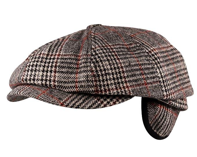 Luxury 8 Panel Ear Flap Flat Cap Hat Baker Boy Newsboy Wool Tweed Check in  Beige 7a4959c7f9b4