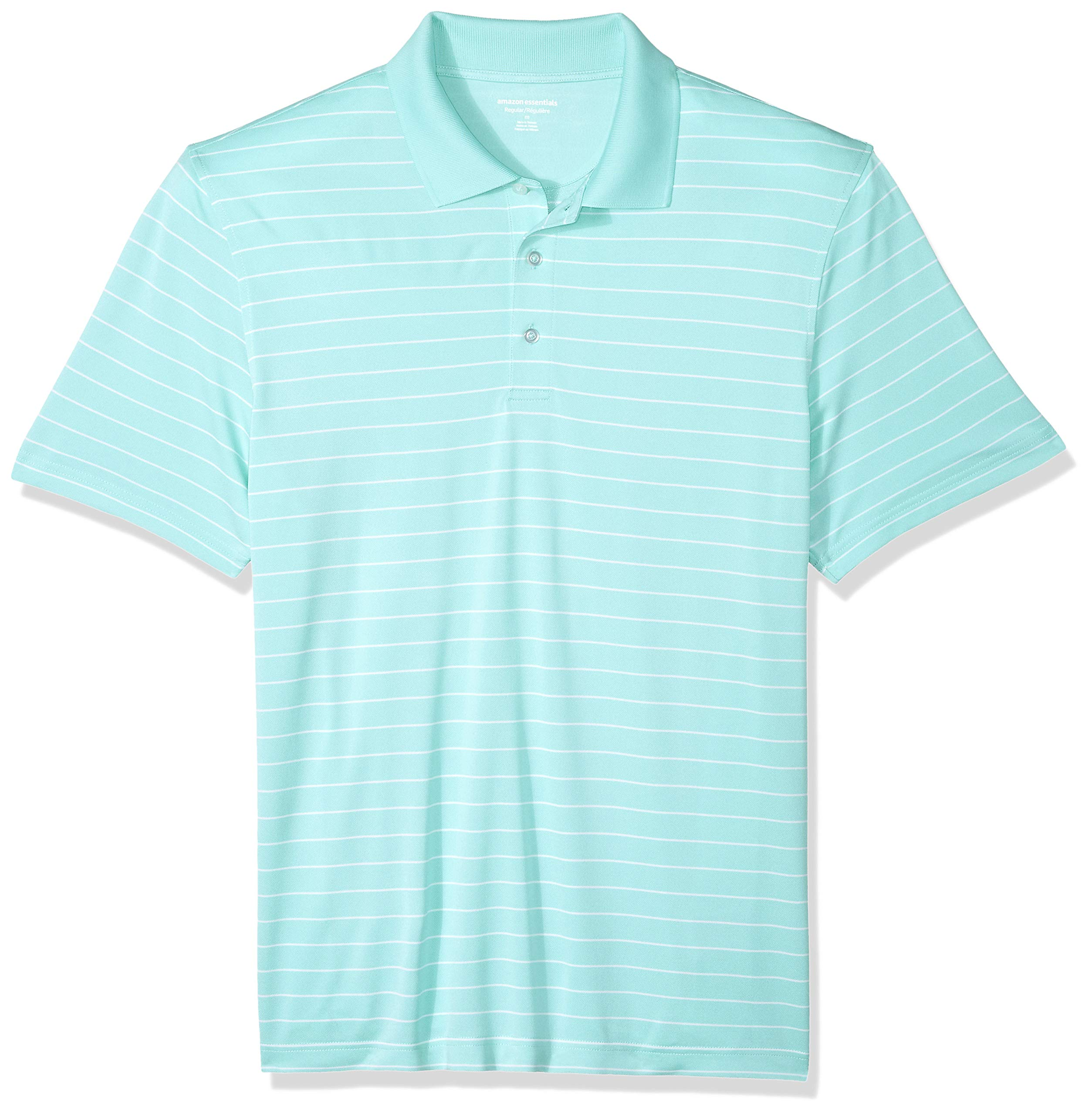Amazon Essentials Men's Regular-Fit Quick-Dry Golf Polo Shirt, Aqua Stripe, X-Small by Amazon Essentials