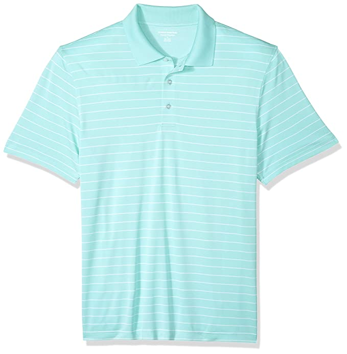 Amazon Essentials Men's Regular-Fit Quick-Dry Golf Polo Shirt, Aqua Stripe, X-Large