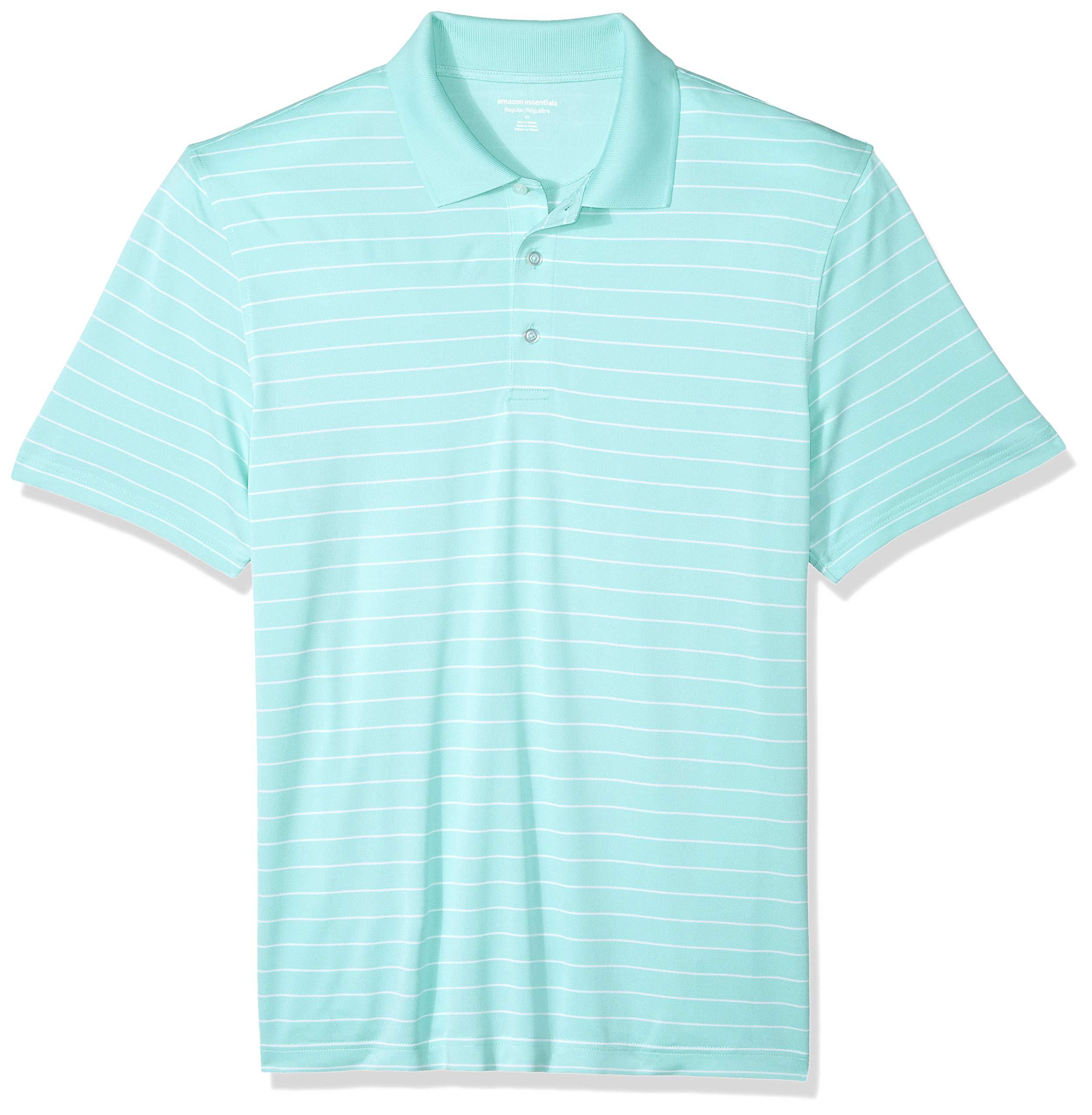 Amazon Essentials Men's Regular-Fit Quick-Dry Golf Polo Shirt, Aqua Stripe, X-Small