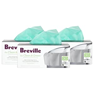Breville Clean and Green Biodegradable Pulp Container Bag for Juicers, Set of 90