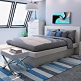 Ben Platform Bed with Rail Seating, Box Spring Not Required, Headboard is Attached to The Bed Frame