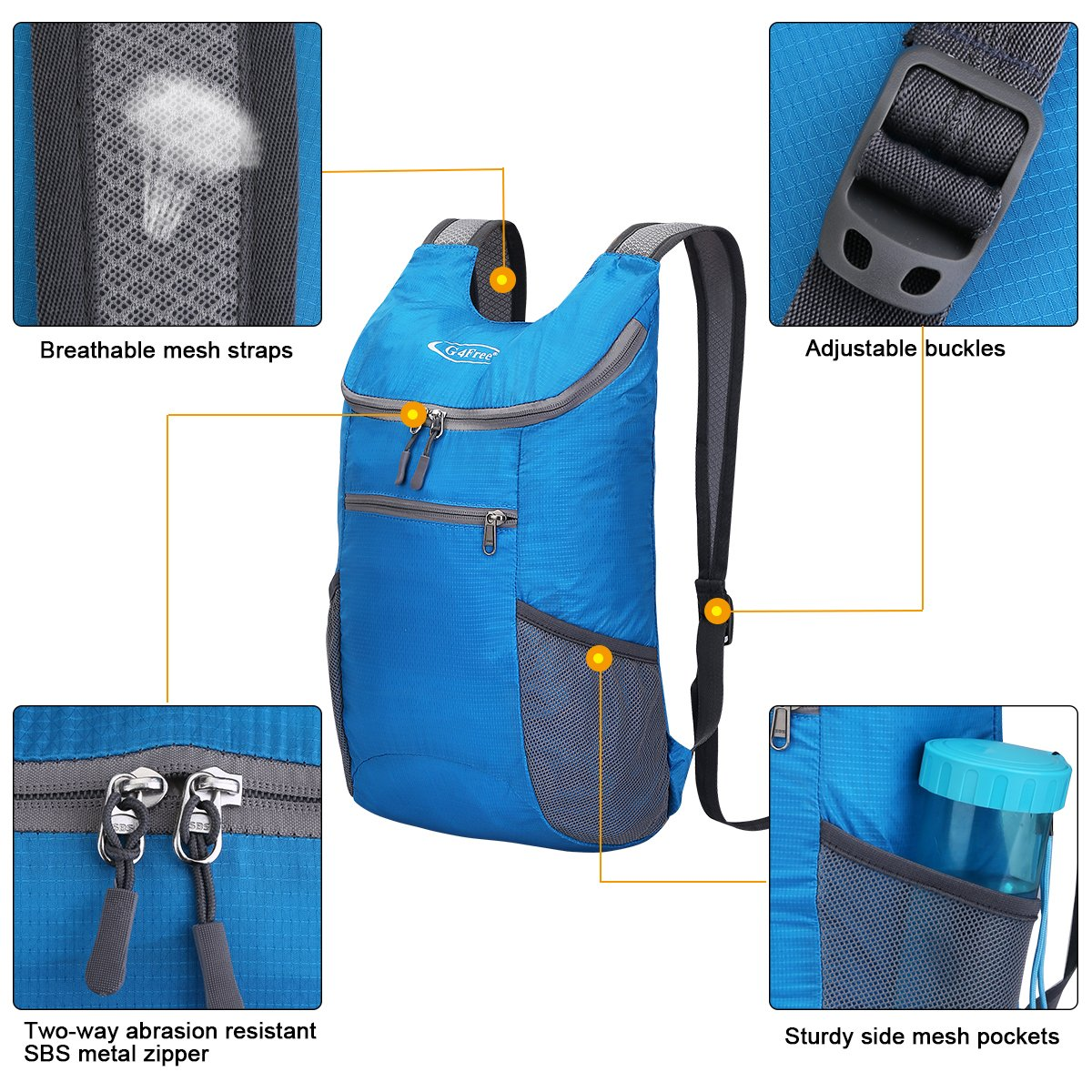 G4Free Lightweight Packable Shoulder Backpack Hiking Daypacks Small Casual Foldable Camping Outdoor Bag for Adults Kids 11L(Blue) by G4Free (Image #6)