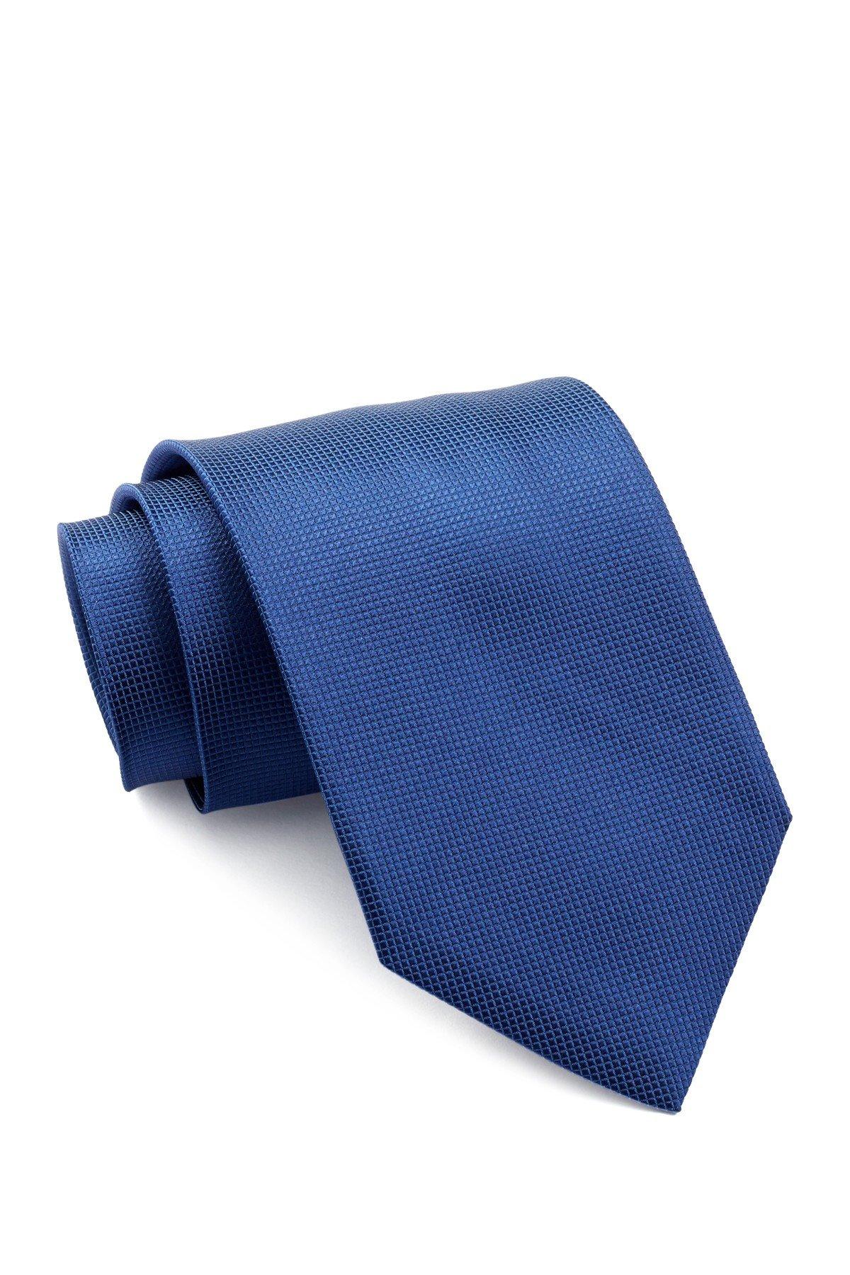 Boss Hugo Boss Micro Check Italian Silk Tie, Med Blue 50242433