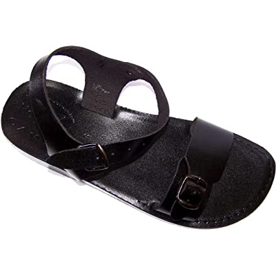Holy Land Market Unisex Leather Biblical Sandals (Jesus - Yashua) Jerusalem Black Style | Sandals