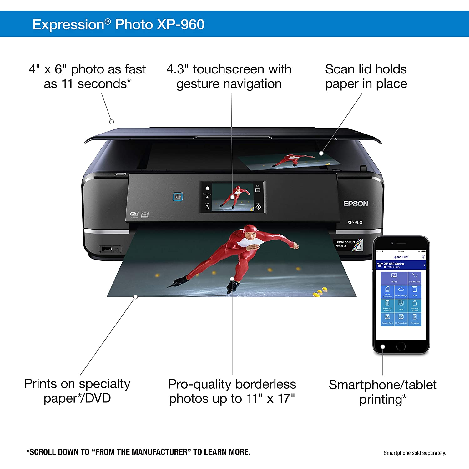 Epson Expression Photo XP-960 Wireless Color Photo Printer with Scanner and  Copier with Cyan/Light Magenta/Light Cyan/Magenta/Black/Yellow High
