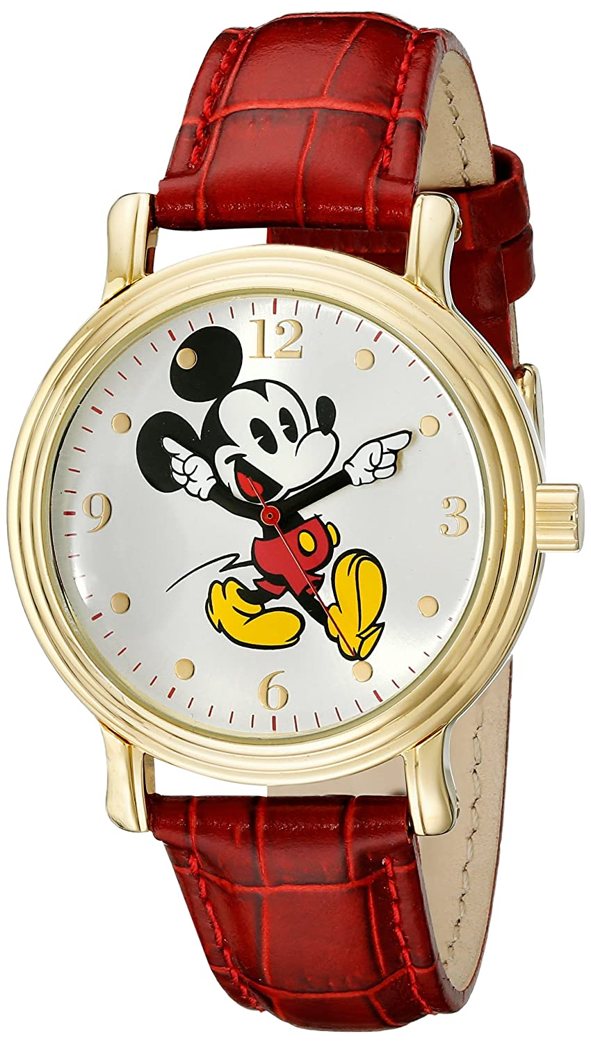 Disney Women s W001870 Mickey Mouse Gold-Tone Watch with Red Faux Leather Band