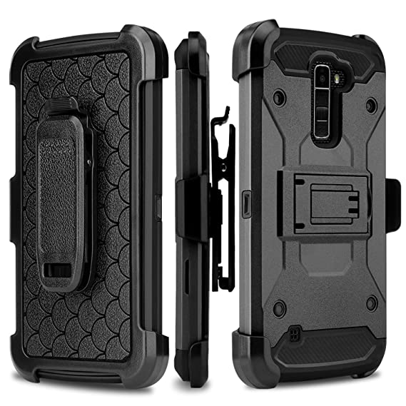new product 6b332 f6a28 LG Stylo 2 Case, LG Stylo 2 V Case [Shock/Impact Resistant] Rugged Tough  Hybrid Holster Triple Layer Protector Case [Kickstand][Swivel Locking Belt  ...