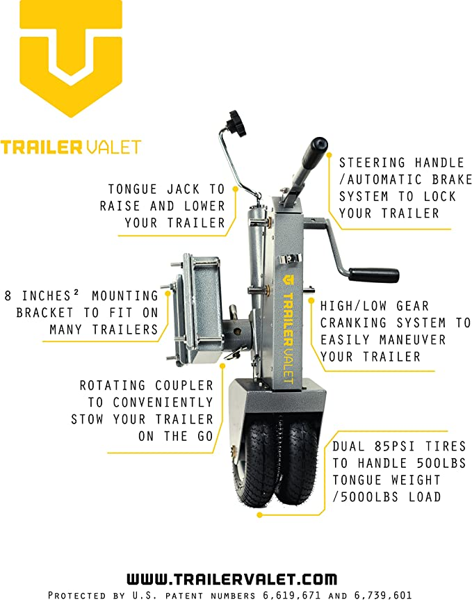 Trailer Valet 5 x V211 Tongue Jack Dolly Silver: : Auto