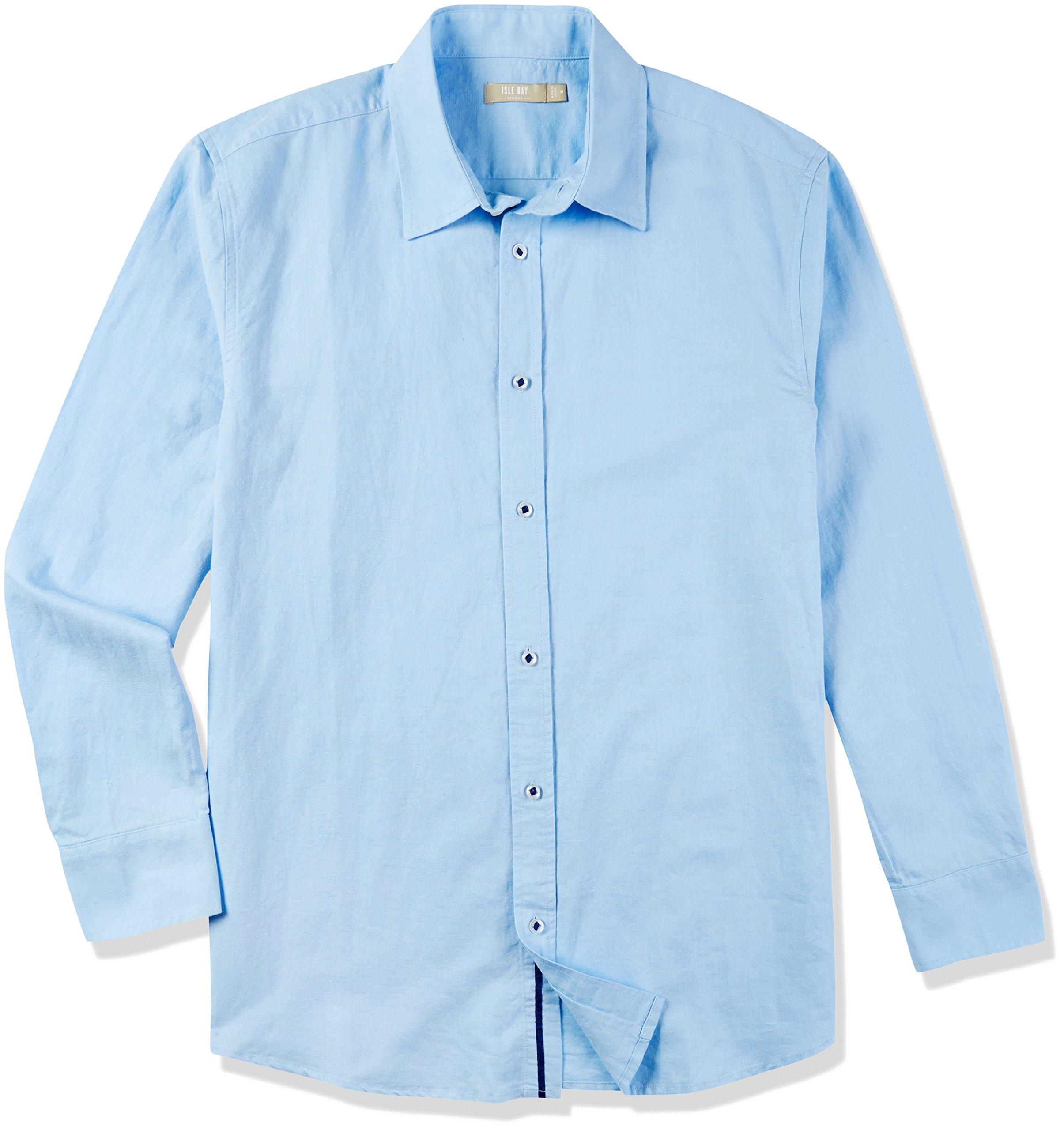 Isle Bay Linens Men's Standard-Fit Long Sleeve Casual Shirt Sky Blue Large