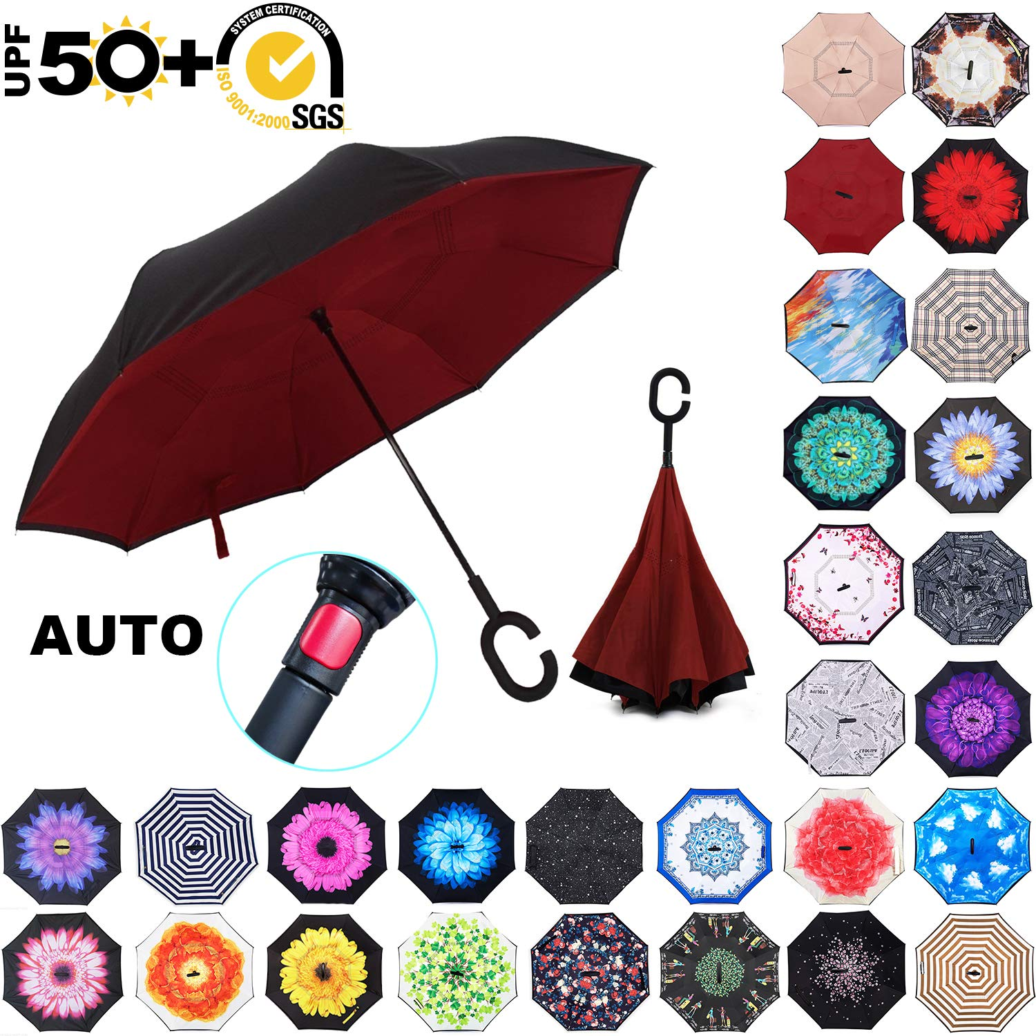 ABCCANOPY Inverted Umbrella,Double Layer Reverse Rain&Wind Teflon Repellent Umbrella for Car and Outdoor Use, Windproof UPF 50+ Big Straight Umbrella with C-Shaped Handle, Burgundy