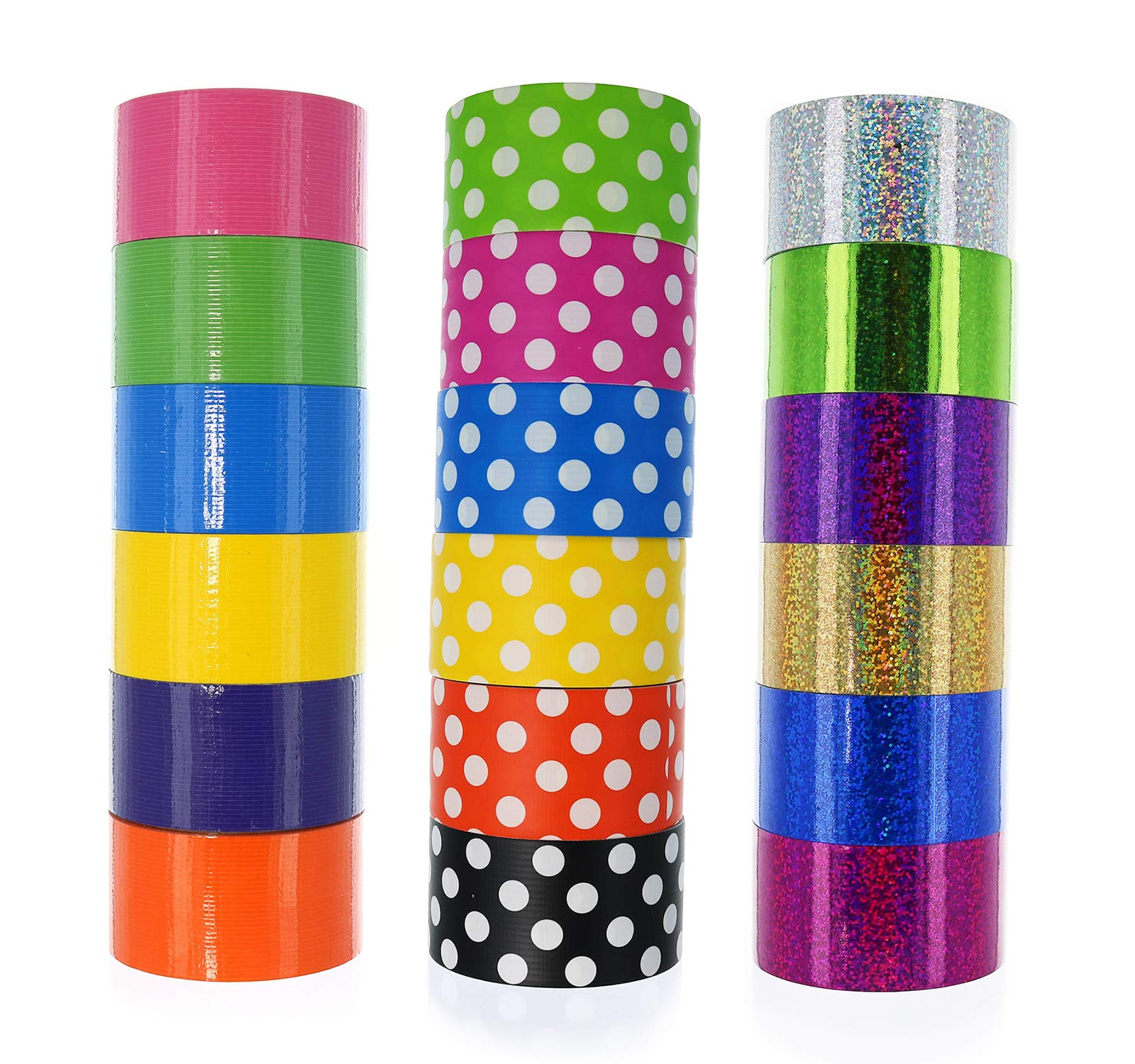 GIFTEXPRESS 18 Assorted Colored Duct Tapes, Holographic Polka Dot Duct Tapes - Multi Purposes Bright Colors Tapes Great for DIY Art Home School Office Colors: Pink Purple red Orange Gold ect. 2'' Roll