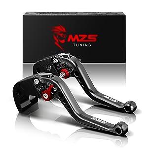 MZS Short Brake Clutch Levers for Yamaha YZF R1 2004-2008/ YZF R6 2005-2016 Black