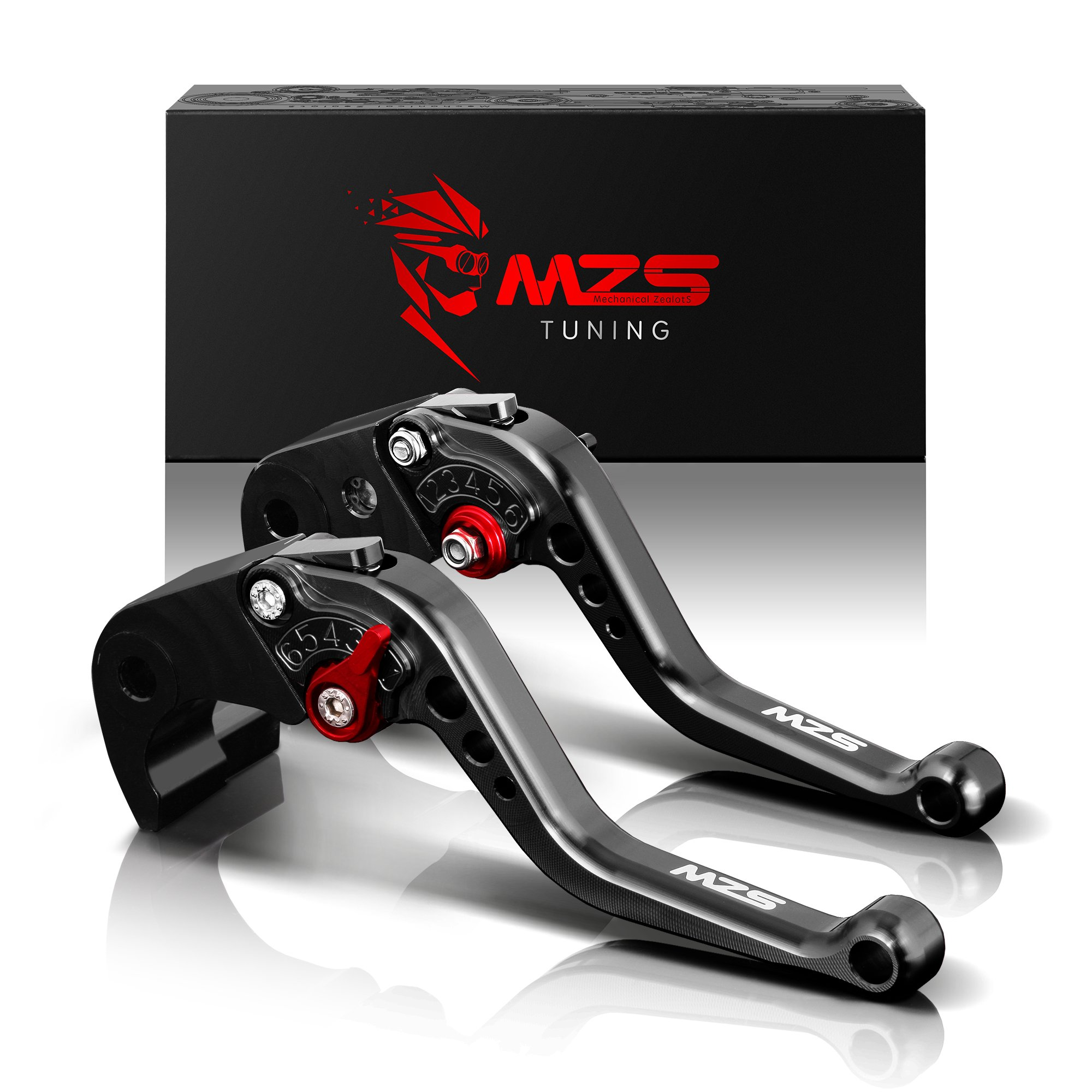 MZS Short Brake Clutch Levers for Kawasaki Z750R 2011-2012,Z1000 2007-2016,Z1000SX/NINJA 1000/Tourer 2011-2016,ZX6R/636 2007-2018,ZX10R 2006-2015 Black by MZS