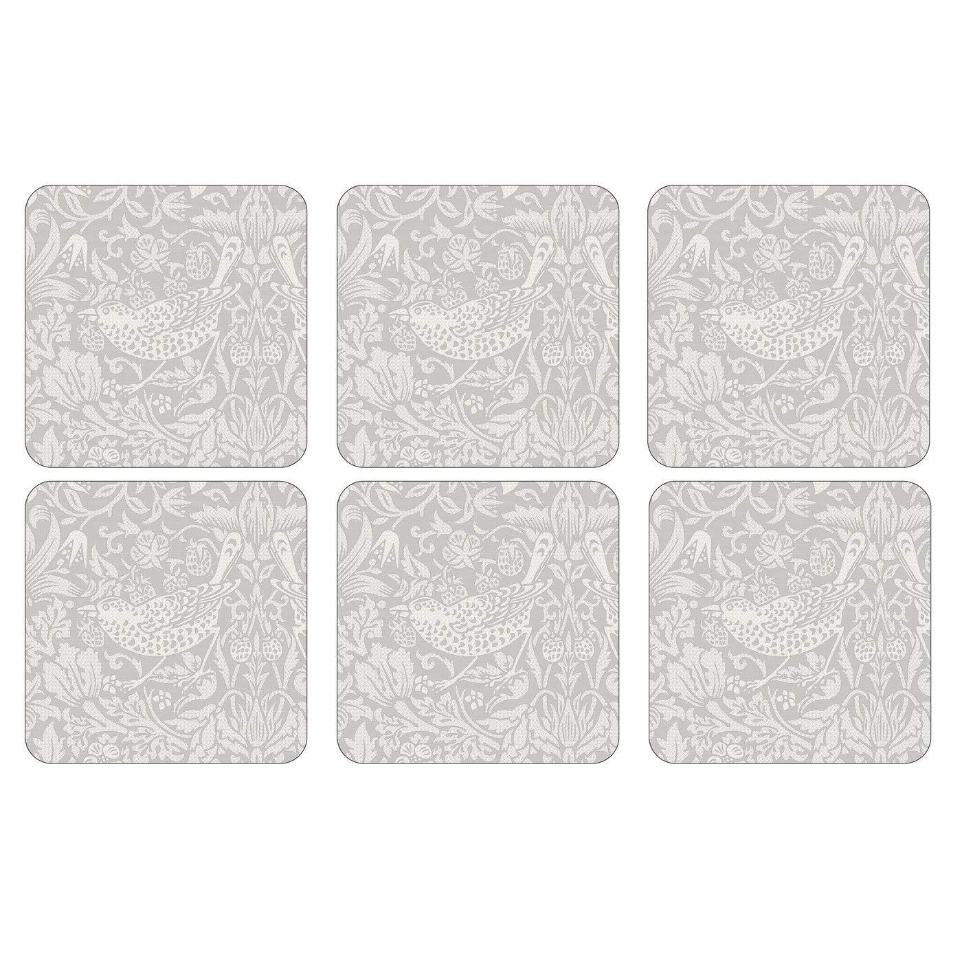 10,5 x 10,5 cm Multicolore Set di 6 sottobicchieri con Retro in Sughero Pimpernel The Original Morris /& Co-Pure Morris Strawberry Thief