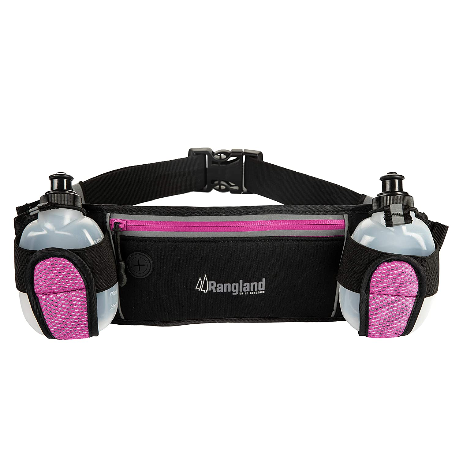 Rangland Sport Water Bottle Hydration Fanny Pack with Large Zippered Pocket Fits Phone,Cash and Cards Water Resistant Waist Pouch for Gym Workouts, Biking, Hiking, Running with 4 Free Bottles Pink