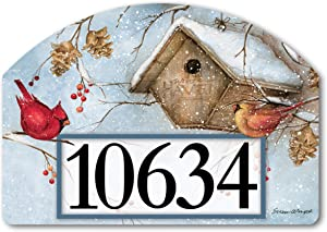 Yard DeSigns Studio M Winter Haven Fall/Winter Decorative Address Marker Yard Sign Magnet, Made in USA, Superior Weather Durability, 14 x 10 Inches